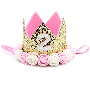 JETEHO Baby Princess Tiara Crown Girls Kids 2 Years Old Birthday Hat Sparkle