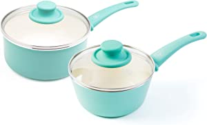 GreenLife CC002559-001 Soft Grip Nonstick saucepan set, 1 Qt and 2 Qt, Turquoise