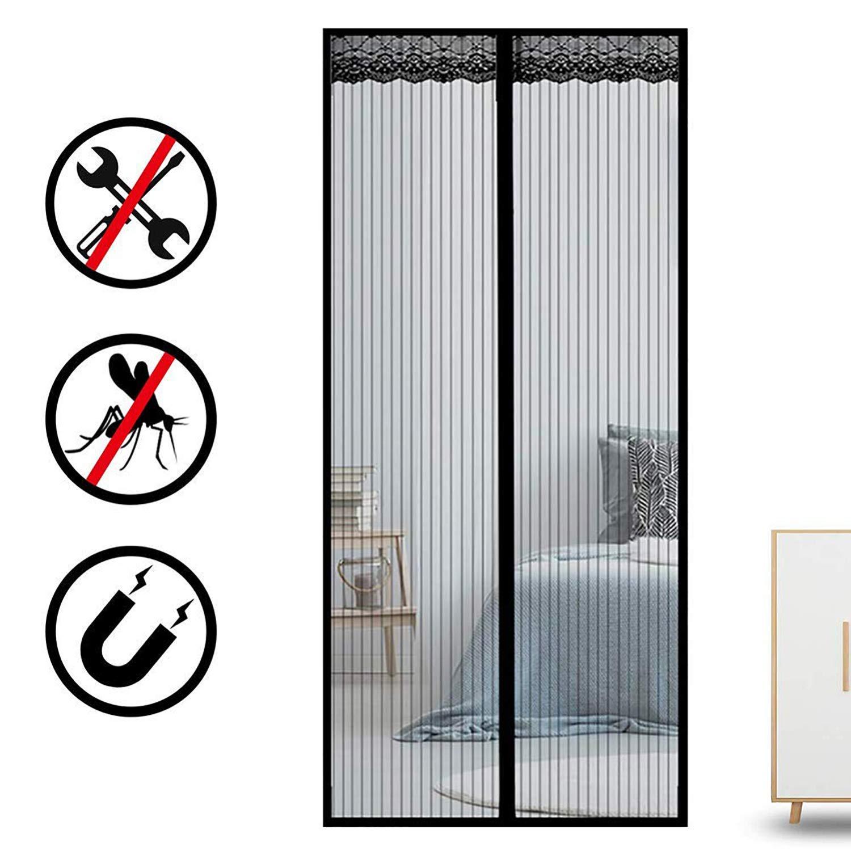 Anti Insectos Moscas y Mosquitos Inst/áLela Usted Mismo para Puertas Correderas//Balcones//Terraza 28x75inch Negro 70x190cm COAOC Cortina Mosquitera Magnetica
