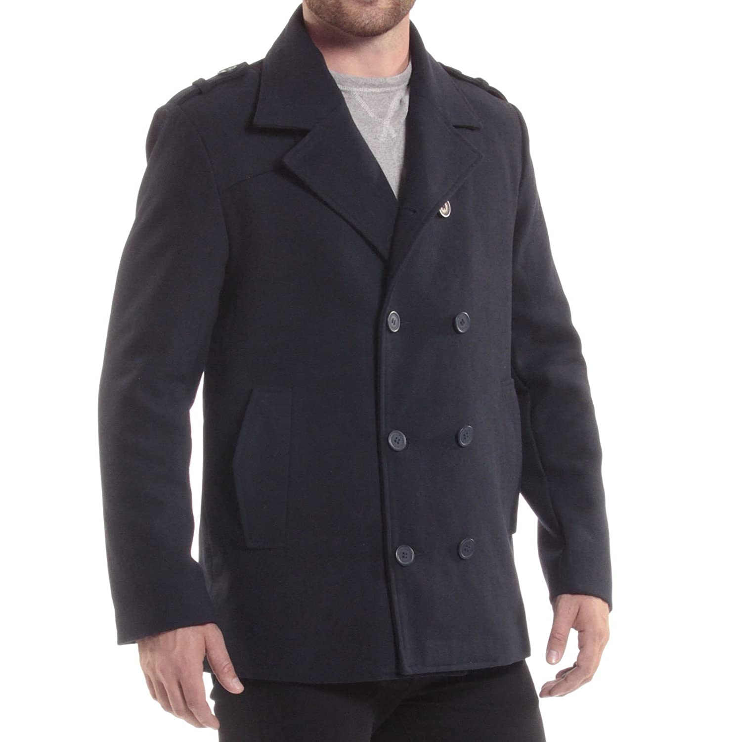 60s 70s Men's Jackets & Sweaters alpine swiss Jake Mens Wool Pea Coat Double Breasted Jacket $39.99 AT vintagedancer.com
