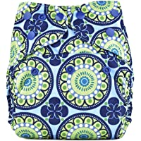 Bumberry Reusable Diaper Cover and 1 Natural Bamboo Cotton Insert (Big Round Flowers) (Multicolor)