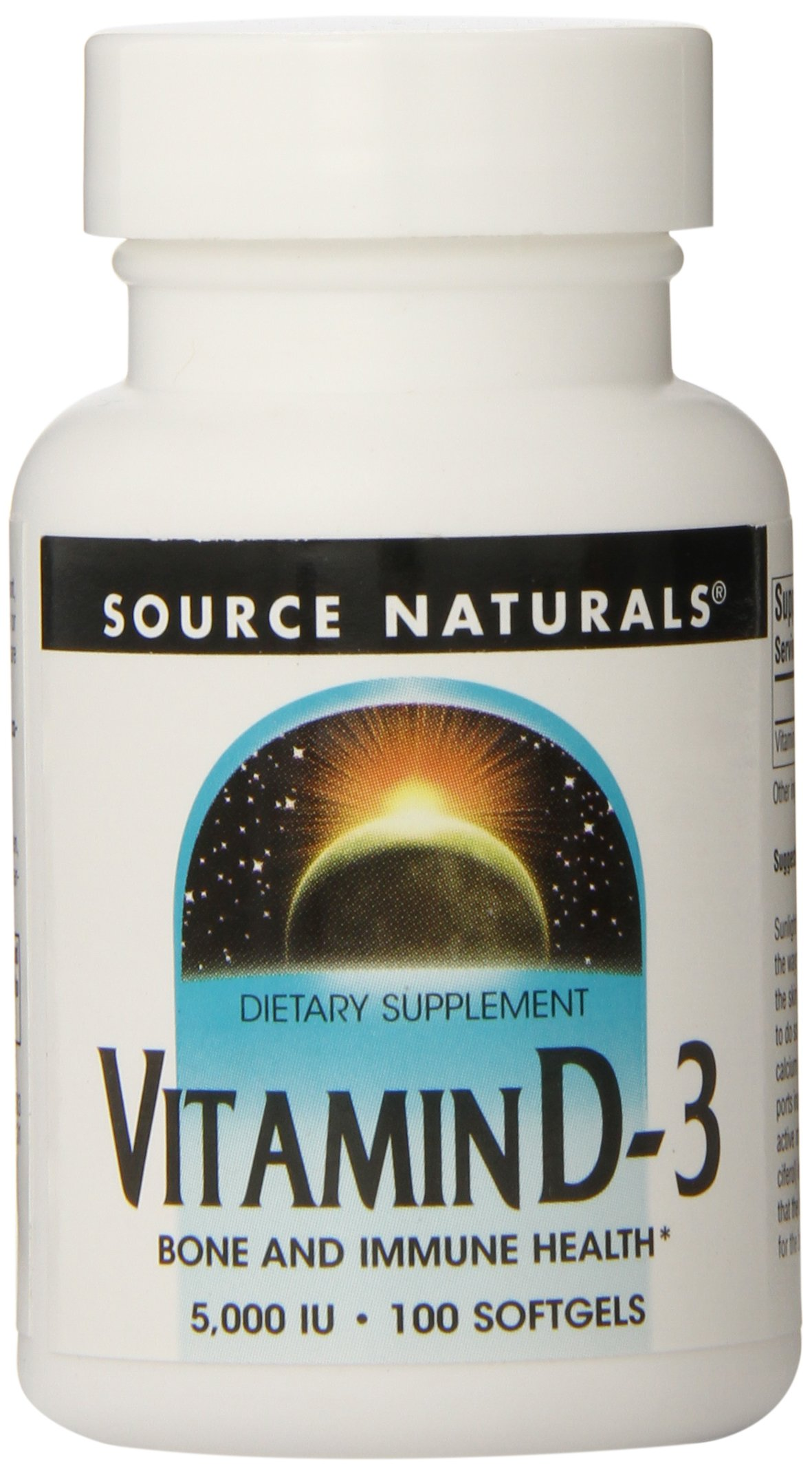 Source Naturals Vitamin D-3 5000IU, 100 Softgels (Pack of 12)