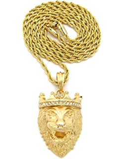 Mens 14k yellow gold lion necklace pendant amazon micro lion king crown pendant 2mm 24 rope chain necklace gold tone mmp127grc aloadofball Choice Image