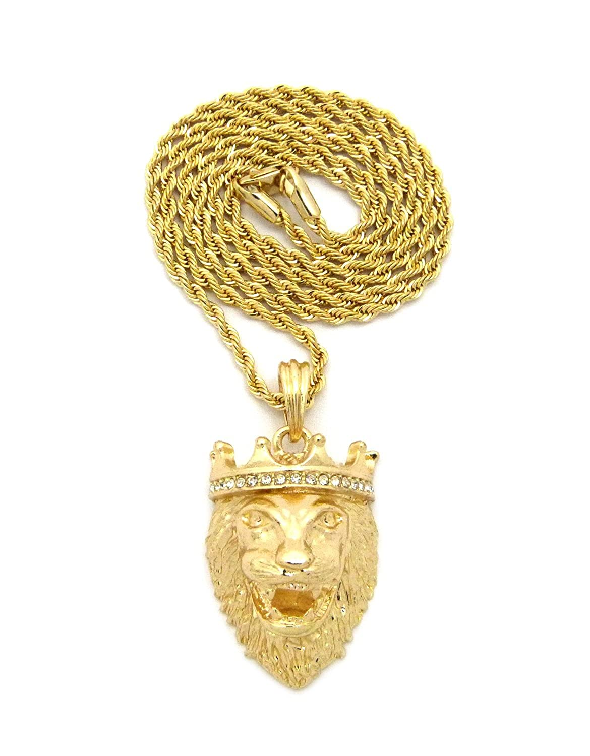 for men solid real medallion pendant iced gold round diamond out mainye crown
