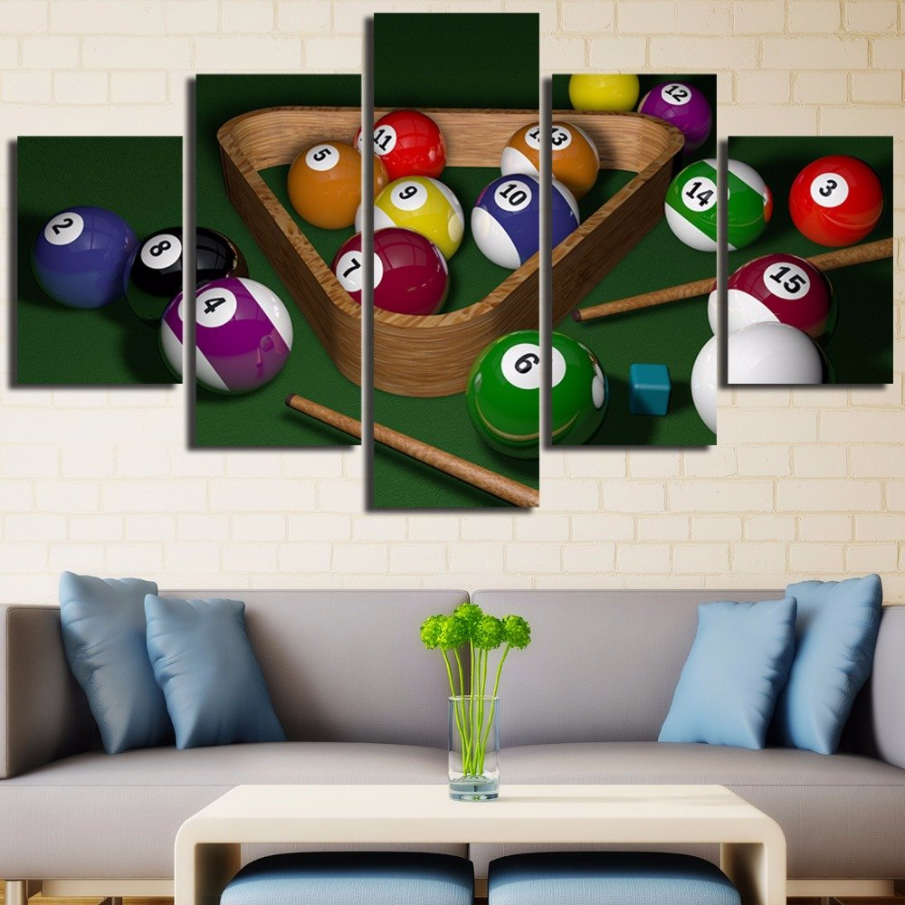 [LARGE] Premium Quality Canvas Printed Wall Art Poster 5 Pieces / 5 Pannel Wall Decor Billiards Painting, Home Decor Pictures - With Wooden Frame