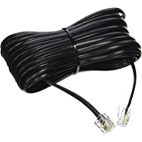 25' FT FOOT BLACK PHONE TELEPHONE EXTENSION CORD CABLE LINE WIRE WITH STANDARD RJ-11 PLUGS