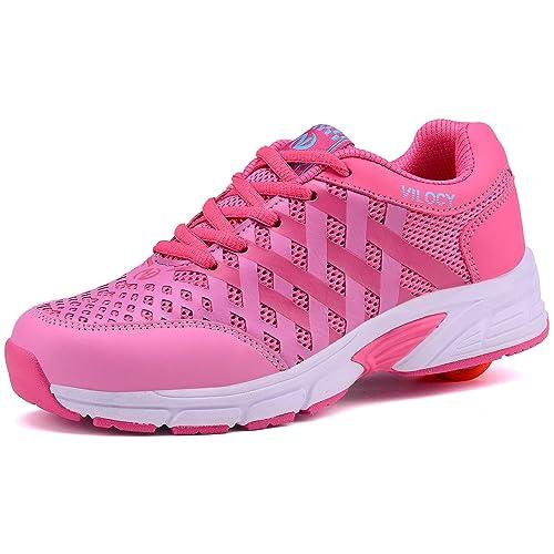 Vilocy Ruedas Zapatos Del Patin De Ruedas Zapatillas De Ruedas Pink,EUR 34: Amazon.es: Zapatos y complementos