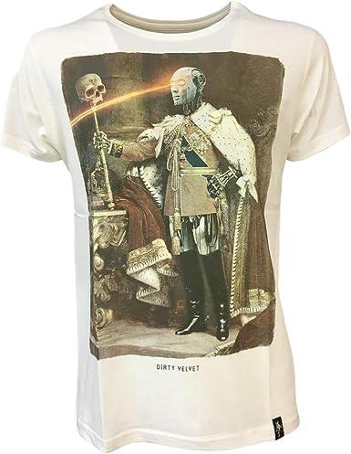 Dirty Velvet - Camiseta para Hombre, Color Blanco Robo King Dv53507, 100% algodón orgánico Blanco 48 ES/M: Amazon.es: Ropa y accesorios