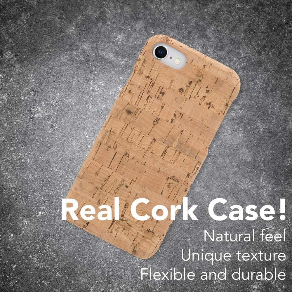 NALIA Coque en Li/ège Compatible avec iPhone Se 2020//8 // 7 Motiv:Light Cork Pattern Slim Cork Hardcase Mince Housse Protection Rigide Nature Dure Cover Bois Anti-Choc Wood Case Design Bumper