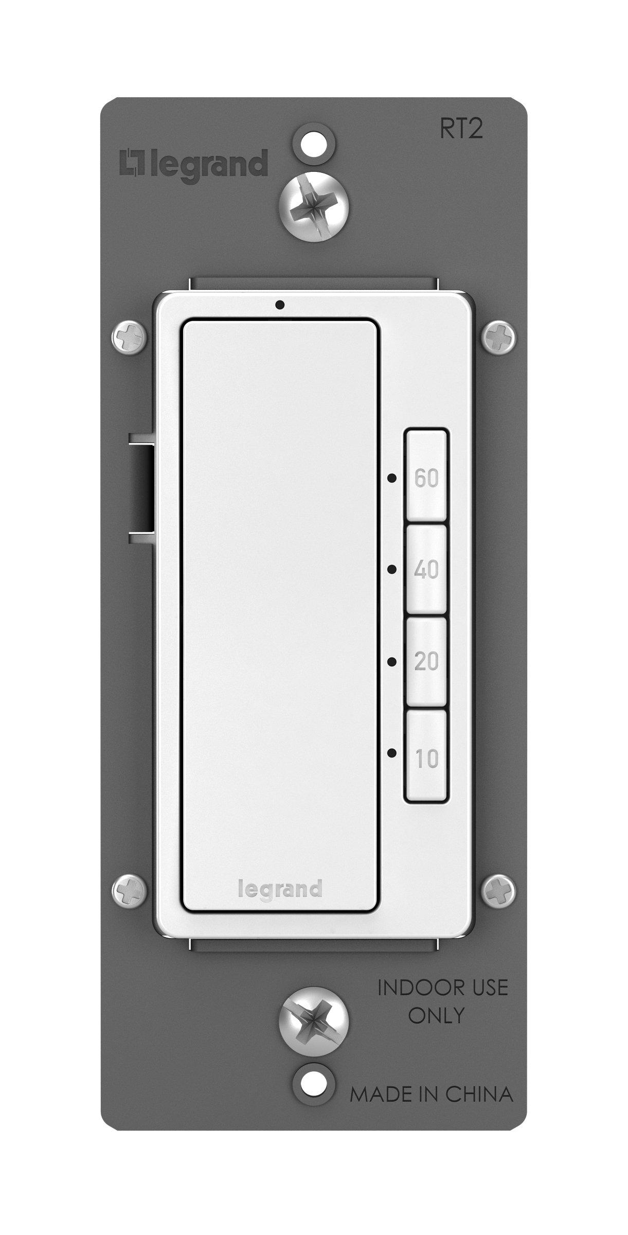 Legrand - Pass & Seymour radiant RT2WCCV4 Digital Timer Paddle Switch, White