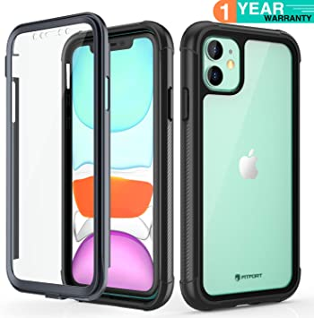 FITFORT iPhone 11 Case with Screen Protector Full-Body Rugged Heavy Duty Clear Bumper Case