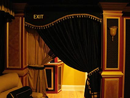 HOME THEATER EXIT DOOR CURTAIN HAND CRAFTED CORNICE WITH YOUR OWN LOGO  VELVET OR SILK