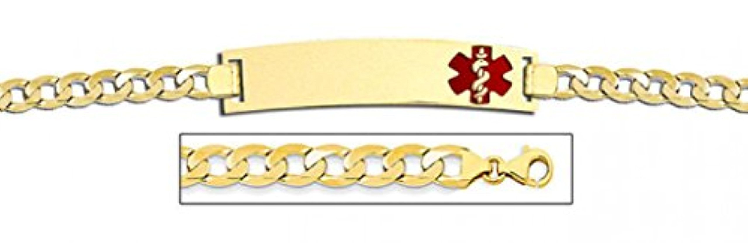 PicturesOnGold.com 14K Gold Medical ID Bracelet W/Curb Chain with Enamel - 8-1/2 WITH ENGRAVING