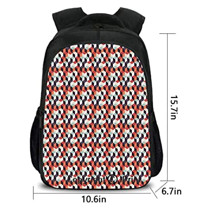 8e440b7ef960 Amazon.com: Lady Custom Backpack,Retro Cubes Flat Artsy Boxes in ...