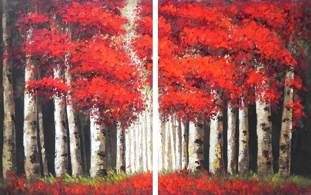 Asmork Abstract Oil Painting Landscaping Best Buy Gift- Art Galleries Wall Decor Landscape Modern Artwork-Set of 2 by Asmork