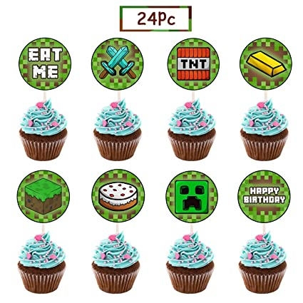 24 Pcs Pixel Miner Crafting Cake Toppers For Games Theme