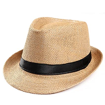 1fe4cd7c14c Amazon.com  ShenPourtor Women Men s Summer Cool Short Brim Straw Fedora Sun  Hat WIth Stylish Hat Band (Khaki)  Toys   Games