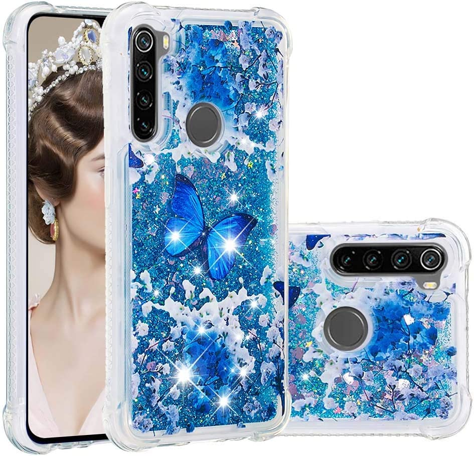 IKASEFU Compatible with Xiaomi Redmi Note 8 Case Shiny Bee Rhinestone Emboss Pu Leather Glitter Diamond Bling Wallet Strap Case with Card Holder Magnetic Flip Cover Gold