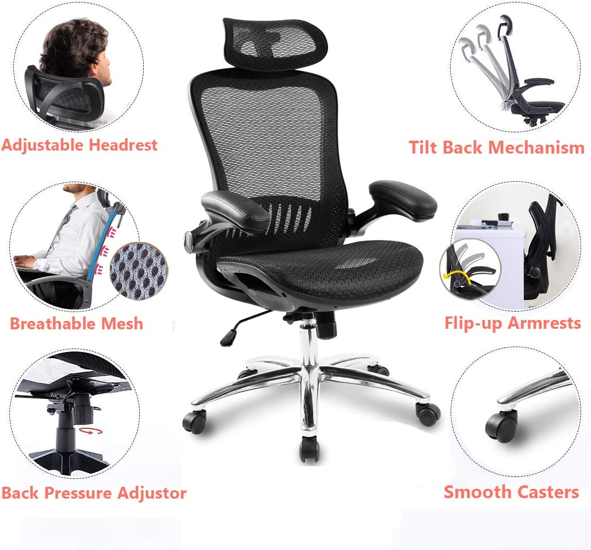 Mesh Office Chair Ergonomic Computer Desk Chair Technical Task Swivel Chair Home Executive High Back for Teens Adults