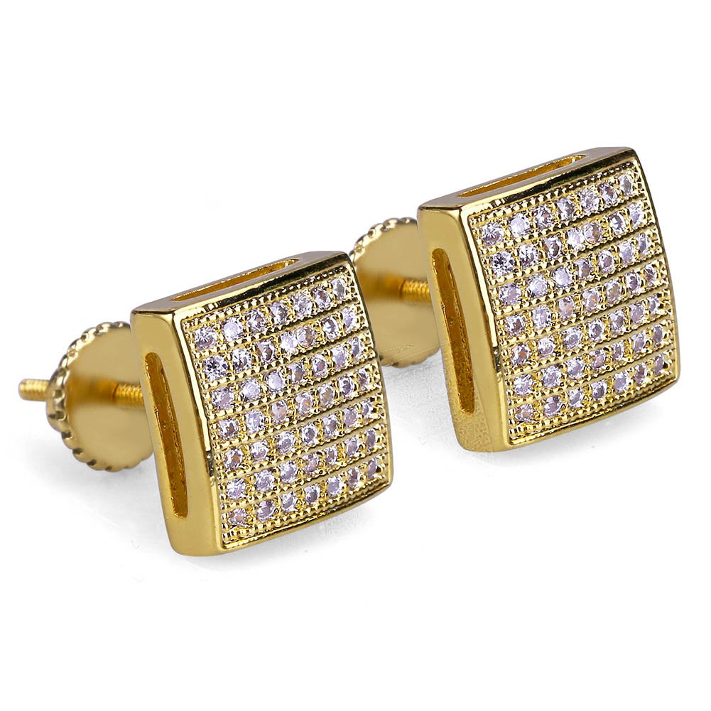 Men's Hip Hop Iced Out XL Large Square Flat Screen Block Screw Back Stud Earring (GOLD TONE)