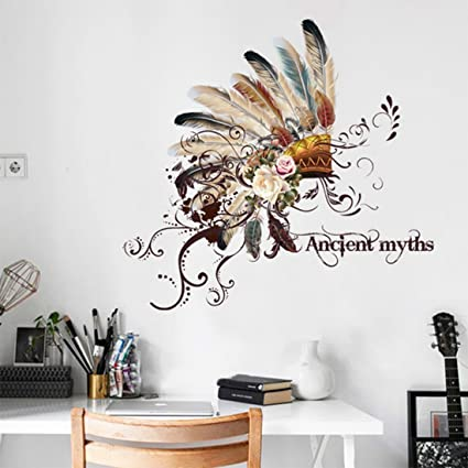 Native american indian chief and flower vinyl sticker wall design modern bedroom wall decor mural
