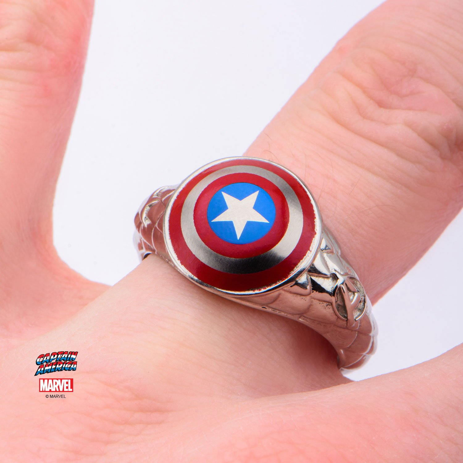 Men\'s Stainless Steel Captain America 3D Shield Ring|Amazon.com