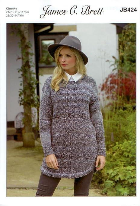 b62720d614cf James C Brett JB424 Knitting Pattern Womens Long Sweater in Marble Chunky  Glamour  Amazon.co.uk  Kitchen   Home