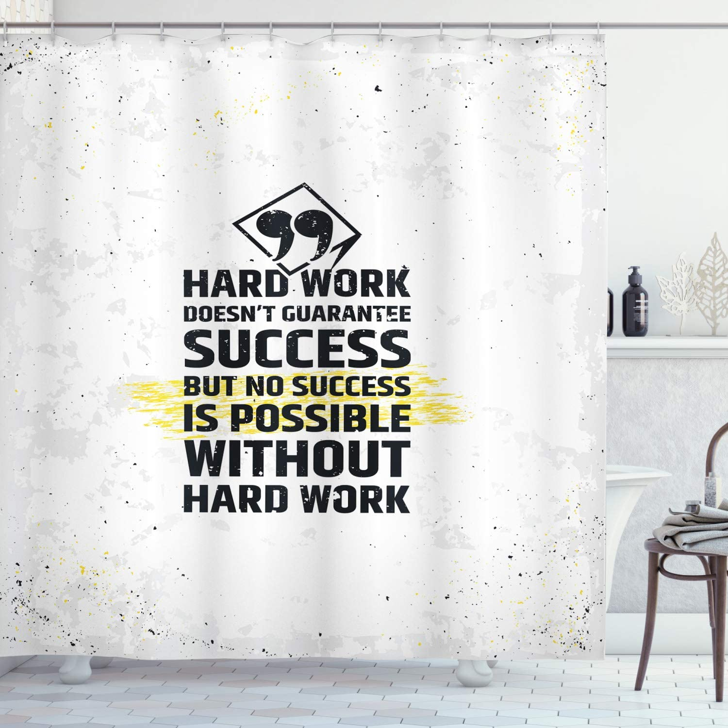 Amazon Com Ambesonne Wording Shower Curtain Hard Work Success Inspirational Words Grunge Theme Typographic Concept Cloth Fabric Bathroom Decor Set With Hooks 70 Long Yellow Black White Home Kitchen