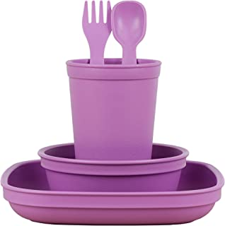 product image for Re-Play Made in The USA Eco Friendly Dinnerware Set for Toddlers and Children - Drinking Cup, Deep Walled Plate, Bowl, Spoon & Fork Set (Purple)