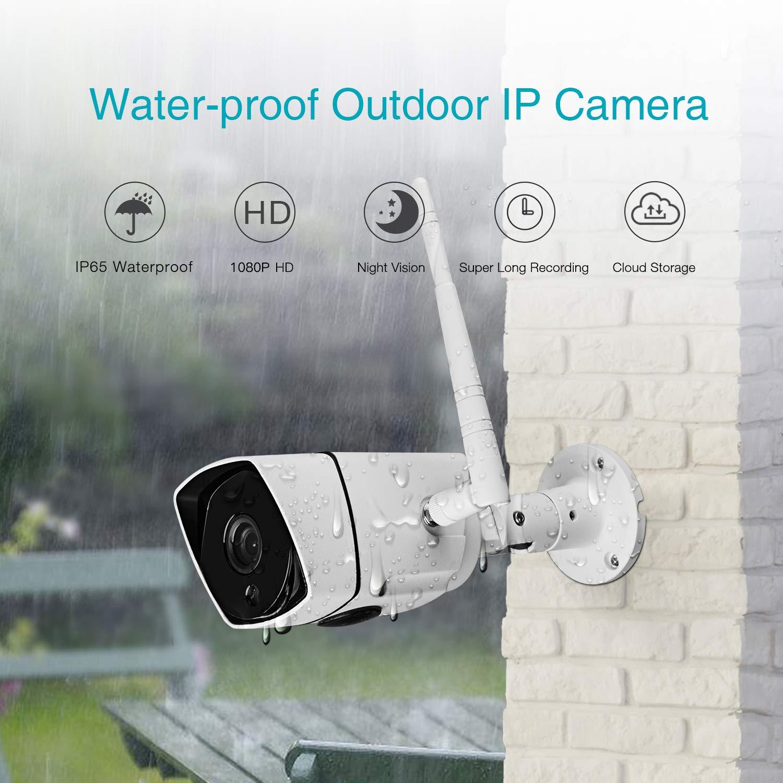 Ebitcam WiFi HD Cam/éra IP Ext/érieur,Cam/éra de S/écurit/é sans Fil,Etanche IP66,Vision Nocturne,D/étection de Mouvement,Image en Temps r/éel Lisse,720P