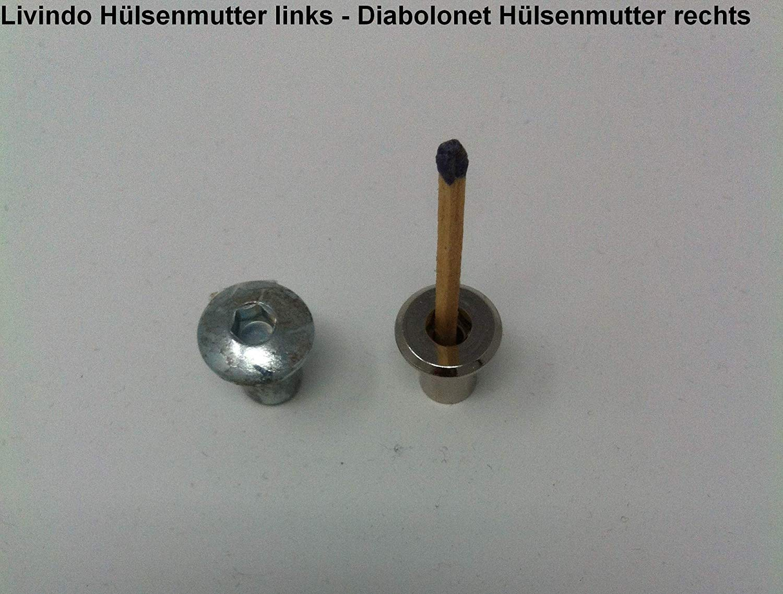 100X Hülsenmutter M6 14x8x12mm Stahl vernickelt Flachkopf Typ RFL Innensechskant