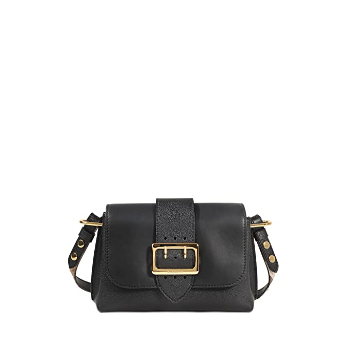 74e9cfa761e7 Burberry Women s soft grain smooth leather small crossbody buckle bag Black  Black  Amazon.ca  Clothing   Accessories