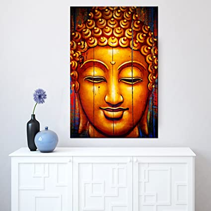 Amazon com classical buddha canvas wall art buddha prints with frame for home wall decor ready to hang living room artwork 24x3660x90cm posters