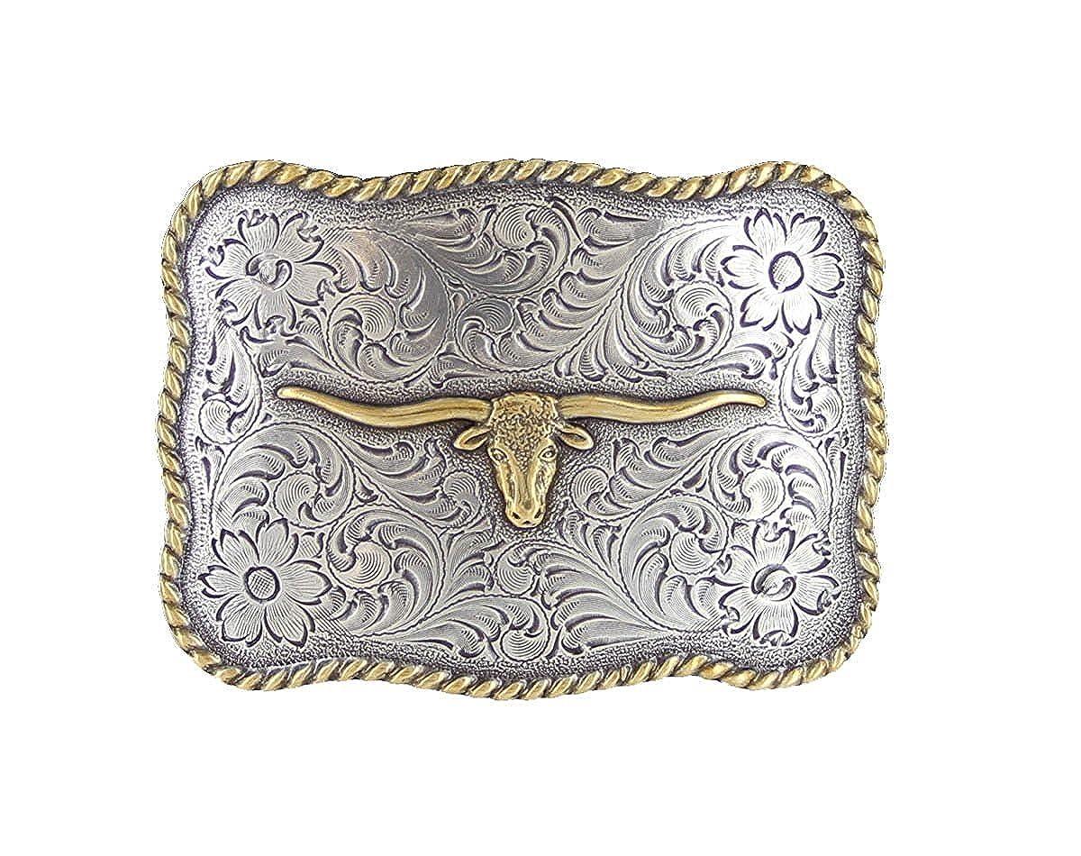 Hagora Men 1-3//8 Wide Oil Tanned Cowhide Longhorn Conchos /& Floral Buckle Belt