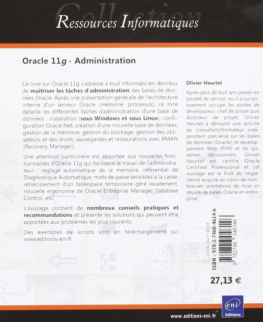 oracle 11g administration de olivier heurtel