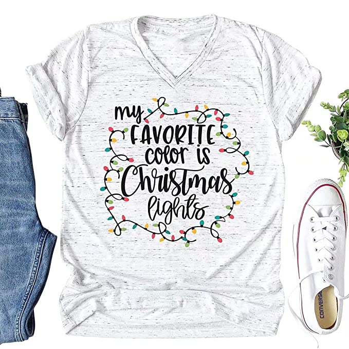 Amazoncom Mnlybaby My Favorite Color Is Christmas Lights T Shirt