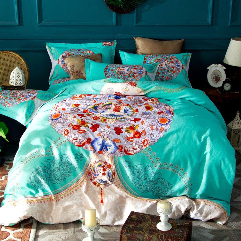 4個セット,3 d の綿生地,刺繍,超低刺激性柔らかい絹のような高級印刷 1 掛け布団カバー, 1 ベッド シート, 2 枕カバー-B B07F64HJF4 Queen2|B B Queen2