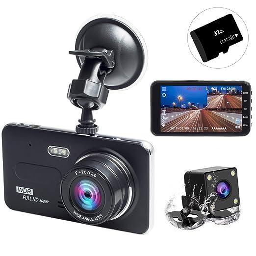 【タイムセール】ドライブレコーダー 前後カメラ 2019最新版 32GB SDカード付き 永久保証付き 1080PフルHD 1800万画素 LEDライト付き 4インチ 170°広視野角 SONYセンサー/レンズ 常時録画 G-sensor( WDR)