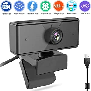 Webcam with Microphone, Full HD 1080P Plug & Play USB PC Cam for Computers Laptop Desktop, Facial-Enhancement Technology for Video Conferencing, Recording, Study, Streaming