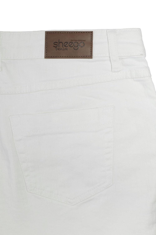 sheego Jeans Die Gerade Damen Hose Pants Denim Stretch Weiß Langgröße 92 104