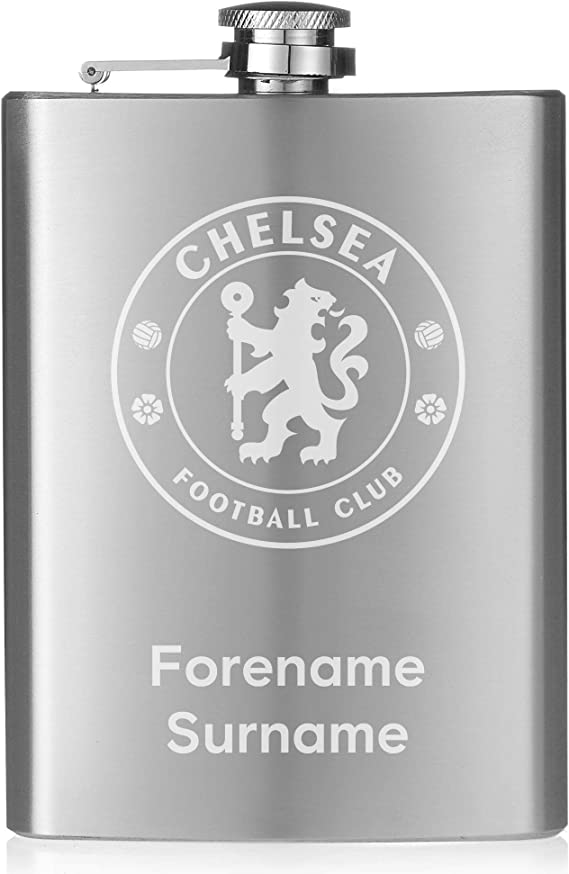 Official Personalised Chelsea FC Crest Hip Flask