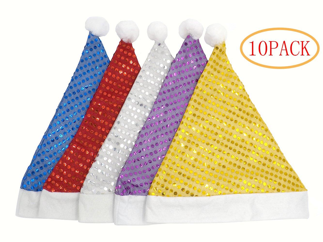 ST※park Shining Santa Hat,Pack of 10pcs Christmas Hat for Women/Men by ST※park
