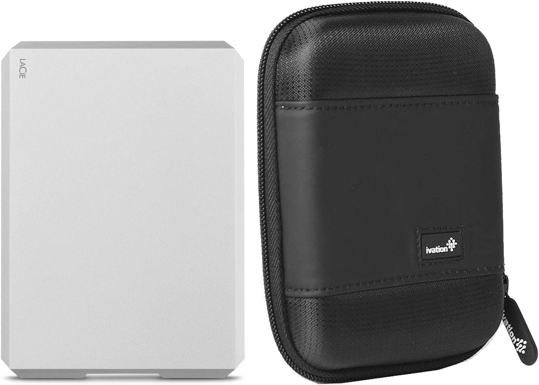 LaCie 2TB Mobile Drive External Hard Drive STHG2000400 USB-C/USB 3.0/Thunderbolt 3 f/Mac & PC, Moon Silver w/Carrying Case, 1 Month Adobe CC