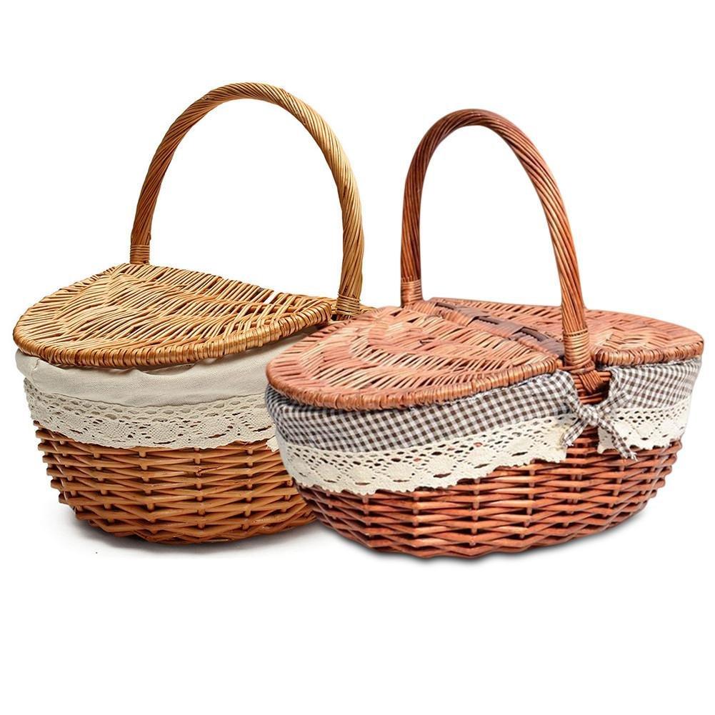 Cesta de mimbre hecha a mano para cocina, para camping, picnic, compras, almacenamiento con tapa y asa de madera color mimbre cesta de picnic 无