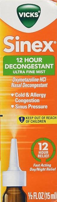 Vicks Sinex 12 Hour Ultra Fine Mist Cold & Allergy Sinus and Nasal  Decongestant Spray 0.5
