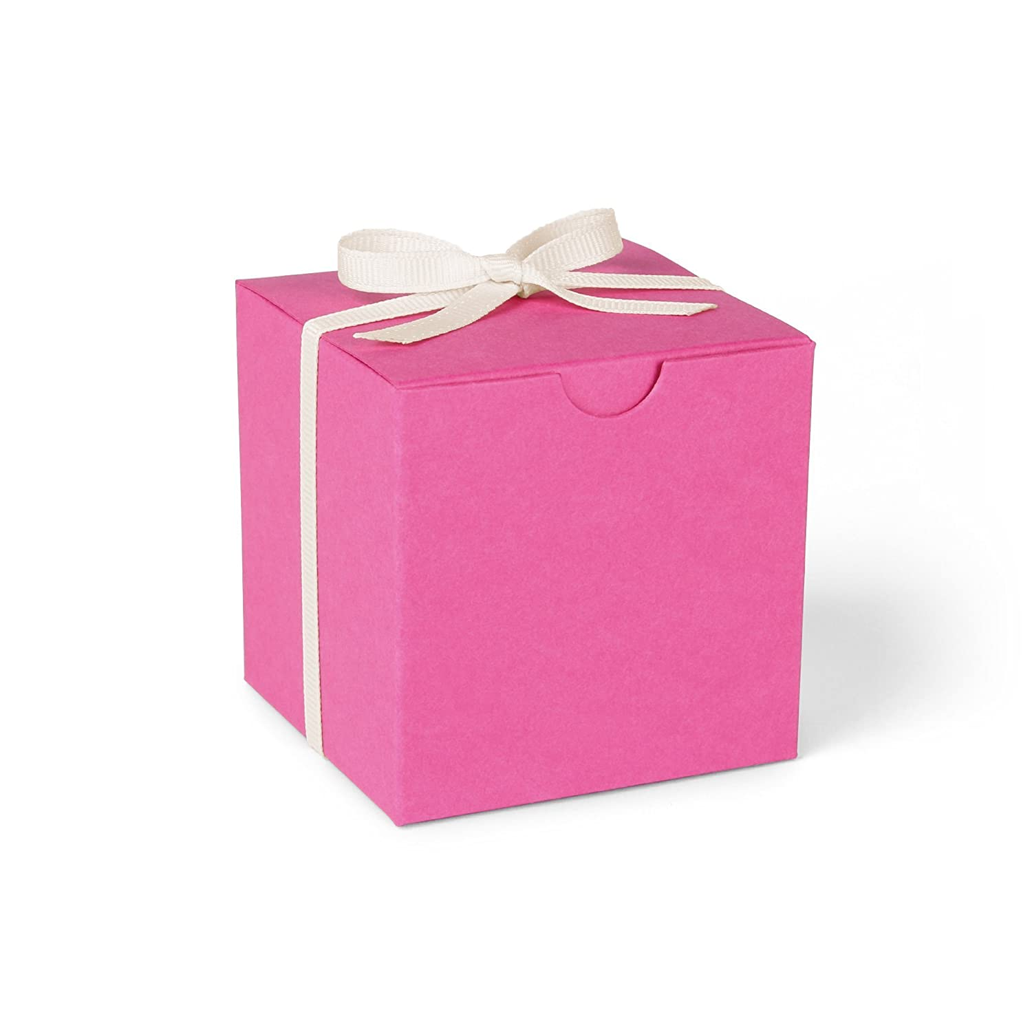 Amazon.com: Hot Pink Favor Boxes with Ivory Grosgrain Ribbon // set ...