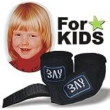 """BAY® """"KIDS basic 1,5"""" Boxbandagen SPEZIELL FÜR KINDER SCHWARZ + WICKELANLEITUNG, elastisch und etwas kürzer / kleiner, 1,5 Meter x 5 cm, Box-Bandagen, Paar"""