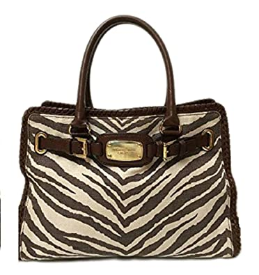 e59b239cdc5ce Amazon.com  Michael Kors Hamilton Whipped Tiger Animal Print Canvas Brown EW  East West Tote Large Satchel Handbag  Shoes