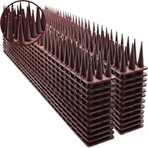 Defender Spikes, Upgraded Bird and Cat Repellent for Pigeon, Cat and Small Animals - Protect Your Sofa, Garden, Outdoor Walls, Anti Theft Climb, Plastic Security Fence Spikes - 24pack [34FT]