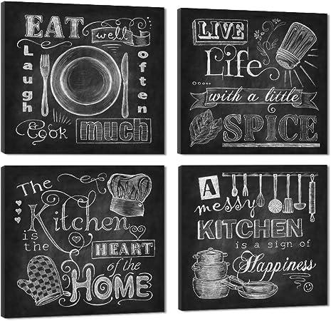 VIIVEI Pizarra abstracta,carteles de lona,impresiones en blanco y negro para cocina,decoración del hogar,imágenes,4 paneles, pósteres grandes,enmarcados para fotos,listo para colgar,A,12x12inchx4: Amazon.es: Hogar